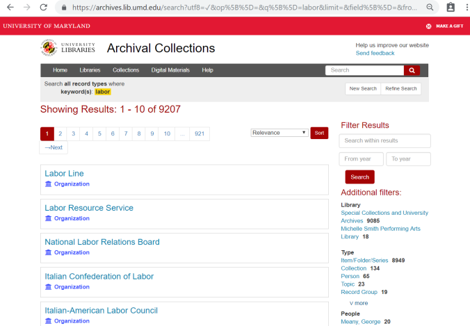 Archival Collections search results page
