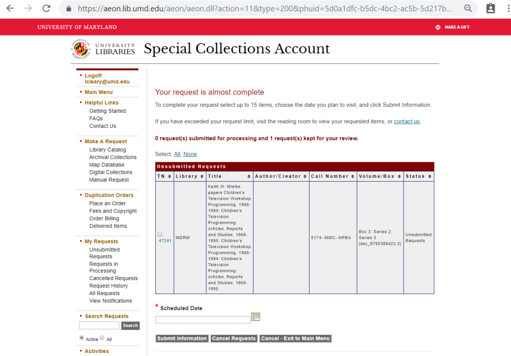 Special Collections Account unsubmitted requests screen