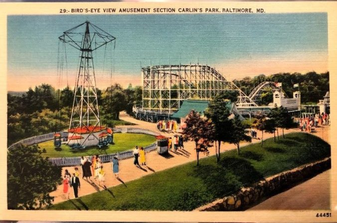 Postcard of the Amusement Park Section of Carlins Park in Baltimore Maryland