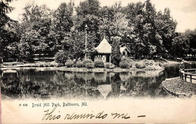 Postcard of Druid Hill Park in Baltimore Maryland