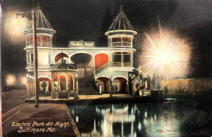 Postcard of Electric Park at Night, Baltimore Maryland