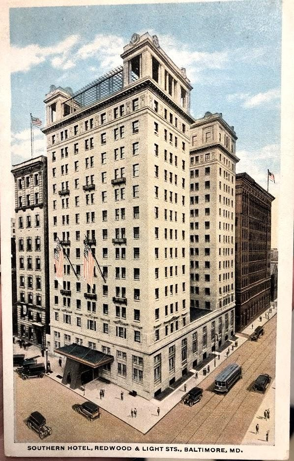 Postcard of Southern Hotel in Baltimore Maryland