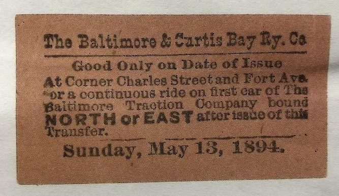 Photo of a streetcar ticket from the Baltimore and Curtis Bay Railway Company