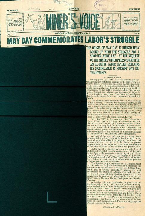 """May Day Commemorates Labor's Struggle,"" Miner's Voice, May Day 1937. Haymarket Riot (1886), 1958-1986. George Meany Memorial Archives, Vertical File collection, 1.20.13. Special Collections and University Archives. https://archives.lib.umd.edu/repositories/2/archival_objects/386349"