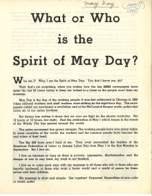 """What or Who is the Spirit of May Day?"", 1948. Haymarket Riot (1886), 1958-1986. George Meany Memorial Archives, Vertical File collection, 1.20.13. Special Collections and University Archives. https://archives.lib.umd.edu/repositories/2/archival_objects/386349"