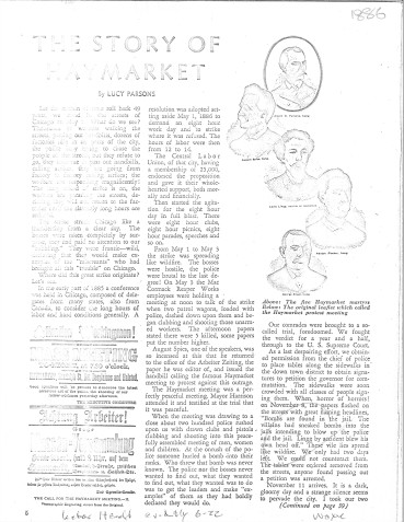 """The Story of Haymarket,"" by Lucy Parsons, 1935. Haymarket: text. Morris B. Schnapper collection, RG96-004.1.2.3.70. Special Collections and University Archives. https://archives.lib.umd.edu/repositories/2/archival_objects/370613"