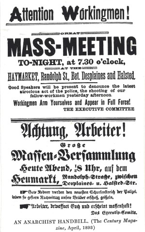 Flyer for mass meeting at Haymarket Square on May 4, 1886. Haymarket: text. Morris B. Schnapper collection, RG96-004.1.2.3.70. Special Collections and University Archives. https://archives.lib.umd.edu/repositories/2/archival_objects/370613