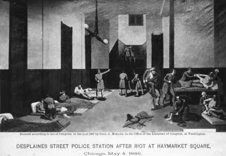 """Desplaines Street Police Station After Riot At Haymarket Square,"" Chicago, May 4, 1886, published in 1887 by Paul J. Morand. Credit: Chicago Historical Society. Haymarket: photographs. Morris B. Schnapper collection, RG96-004.1.2.3.71. Special Collections and University Archives. https://archives.lib.umd.edu/repositories/2/archival_objects/370614 Accessed April 30, 2019."