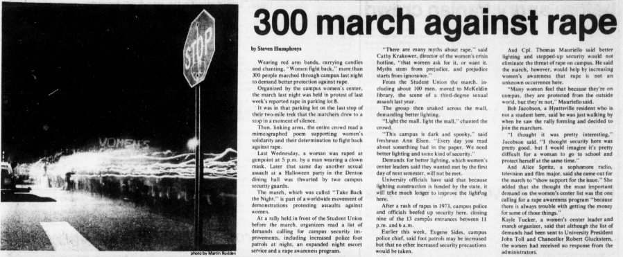 Article 300 march against rape from the Diamondback