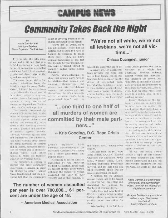 Community Takes Back the Night headline in Black Explosion from 2000