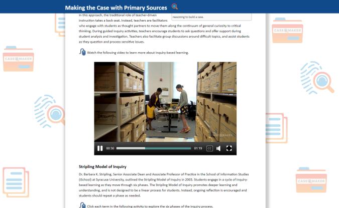 Case Maker's educator tool website