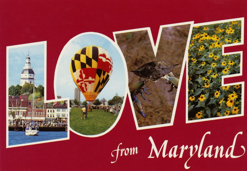 "Love from Maryland, circa 1981-2000. Postcard features word ""LOVE"" created from photographs of Maryland."
