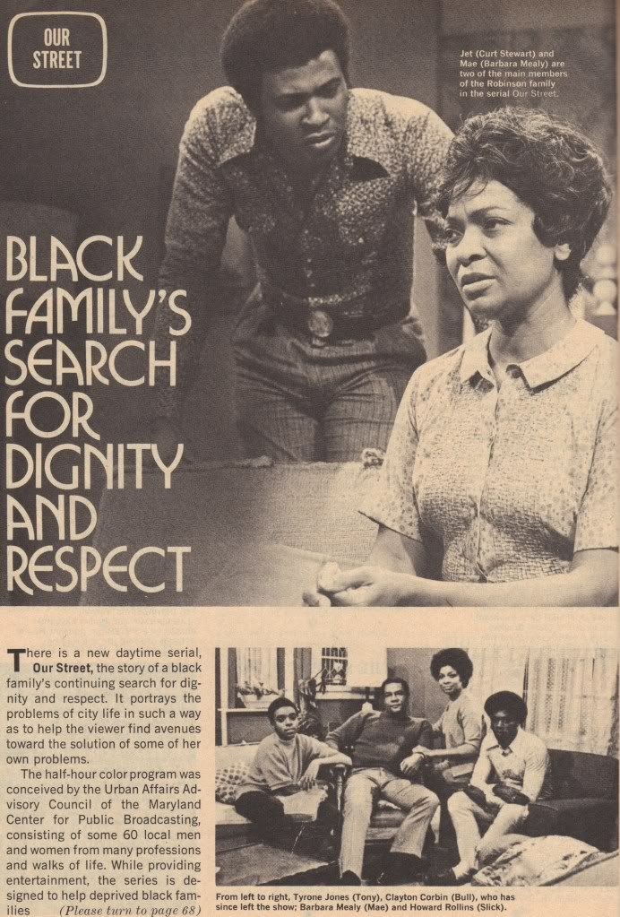 Picture of a newspaper with two photographs and a block of text. The top photo takes up most of the page and features a man with dark skin leaning over a couch to talk to a woman with dark skin, who sits with her lands in her lap. Text next to them reads black family's search for dignity and respect. Below, a photograph of a group of four people with dark skin, and 1970s fashion.